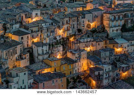 Detail of Ragusa Ibla in Sicily at night