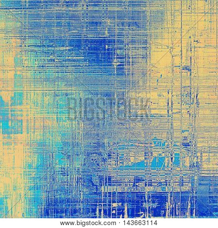 Old style decorative composition or designed vintage template with textured grunge elements and different color patterns: yellow (beige); blue; gray; cyan