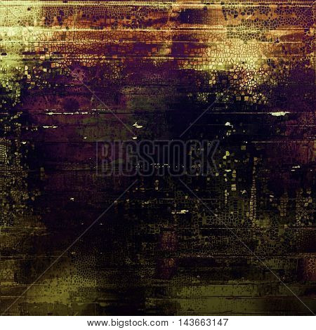 Vintage style background with ancient grunge elements. Aged texture with different color patterns: yellow (beige); brown; black; green; purple (violet); gray