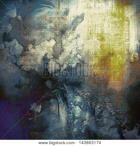 Old grunge vintage background or shabby texture with different color patterns: yellow (beige); black; blue; purple (violet); gray; white
