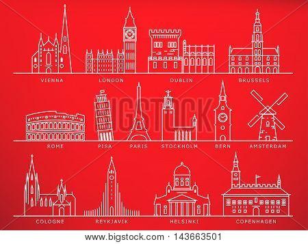 14 European Cities Landmarks Linear Vector Style
