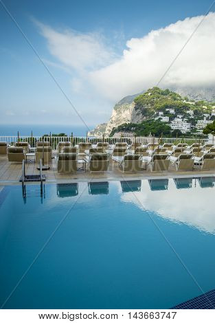 Swimming pool of a luxury hotel on Capri island in Italy