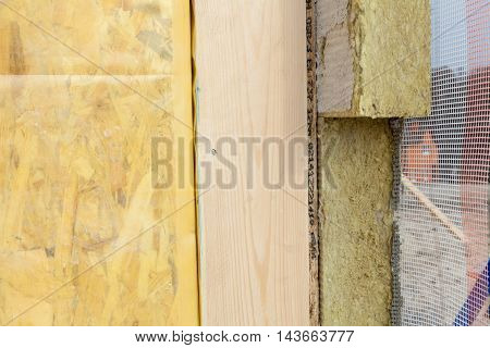 Closeup of structural Insulated Panels with mineral rockwool insulation and Drywall