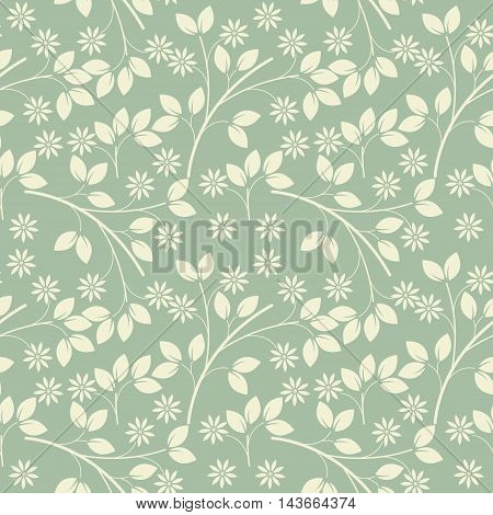 Endless pattern with ivory flowers and leaves on light green freshness background. Vector template can be used for surface textures, textile, linen, tile, kids cloth, pattern fills and more creative designs.
