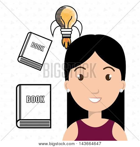 woman books idea reading vector illustration design