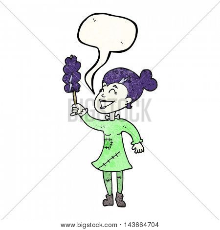 freehand speech bubble textured cartoon undead monster lady cleaning