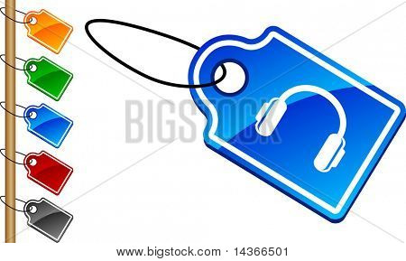 headphones tag set. Vector illustration.