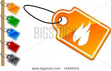 Fire tag set. Vector illustration.