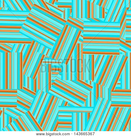 Abstract geometric seamless pattern by stripes . Colorful vector background in turquoise and orange colors.