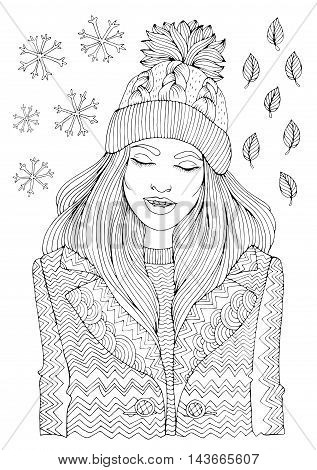 Vector hand drawn fashion smiling girl in a warm knitted hat and coat, autumn winter season. Pattern for coloring book A4 size. .Coloring book for adults. Zentangle drawing.