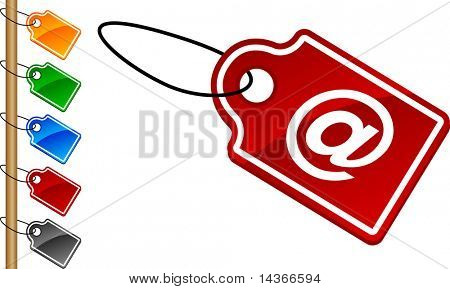 Arroba tag set. Vector illustration.