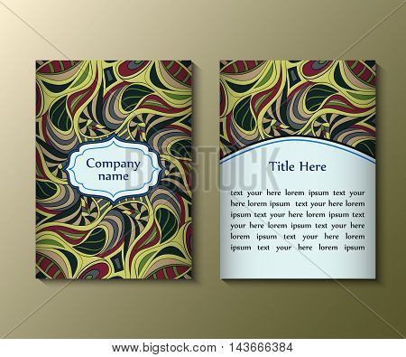 Flyer template with abstract ornament pattern. Greeting card design. Front page and back page. Vector.