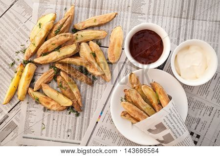 Fries French Ketchup Mayonnaise Herb Still Life