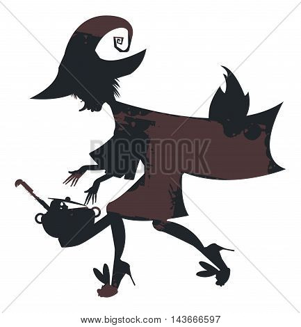Flying witch on broom with witch cauldron for your designs. Vector illustration can be used for Halloween greeting cards, posters ,banners and invitation.