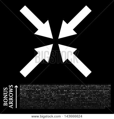 Center Arrows icon with 1200 bonus arrow and direction pictograms. Vector illustration style is flat iconic symbols, white color, black background.