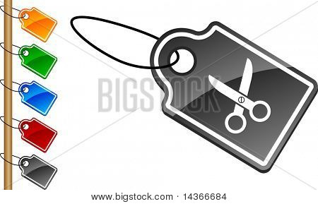 scissors tag set. Vector illustration.