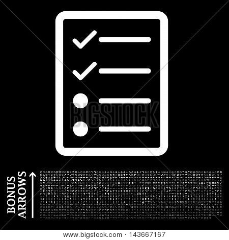 Checklist Page icon with 1200 bonus arrow and navigation pictograms. Vector illustration style is flat iconic symbols, white color, black background.