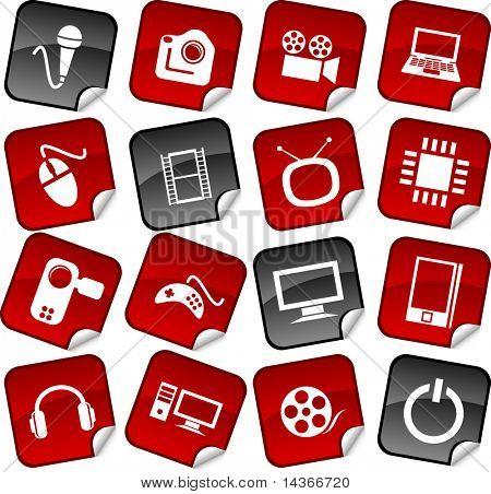 Multimedia  sticker set. Vector illustration.