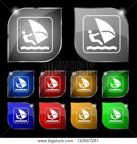 Windsurfing Icon Sign. Set Of Ten Colorful Buttons With Glare. Vector