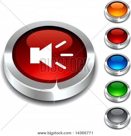 Sound 3d button set. Vector illustration.
