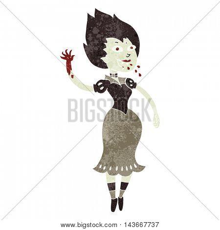 freehand retro cartoon blood sucking vampire girl