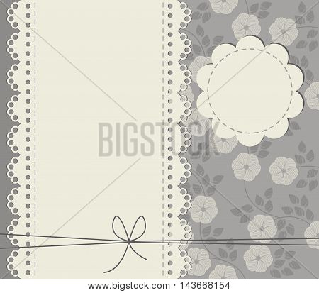 Greeting card with copy space stylish flowers leaves and bows. Stylish retro frame can be used for greeting card ,invitation, baby shower card ,wedding invitation and more designs.