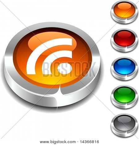 Rss 3d button set. Vector illustration.