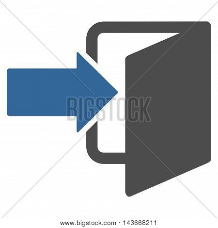 Exit Door icon. Vector style is bicolor flat iconic symbol with rounded angles, cobalt and gray colors, white background.