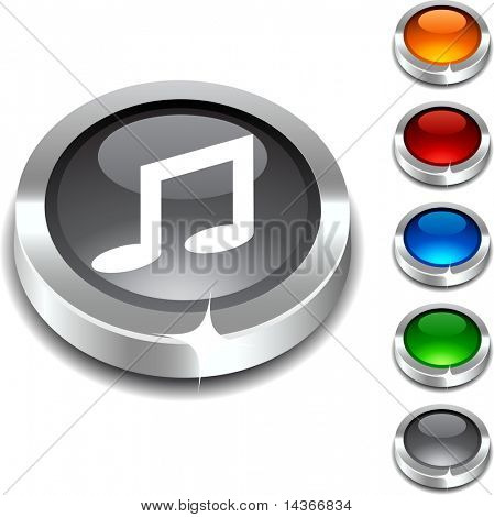 Music 3d button set. Vector illustration.