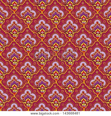 Vector illustration of Indian style. Indian seamless ethnic pattern.
