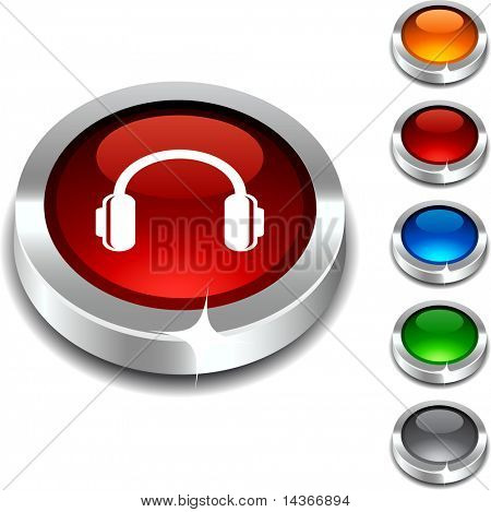 headphones 3d button set. Vector illustration.