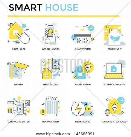 Smart house concept icons, thin line, flat design