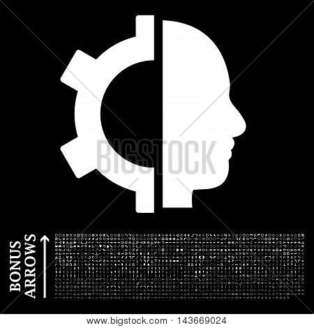 Cyborg Gear icon with 1200 bonus arrow and navigation pictograms. Vector illustration style is flat iconic symbols, white color, black background.