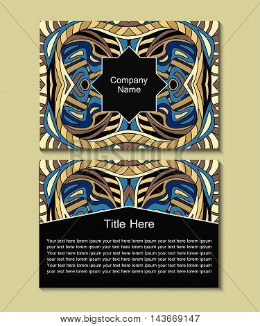 Flyer Template With Abstract Ornament Pattern.