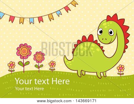 Beautiful greeting card with the dragon flowers and flags.