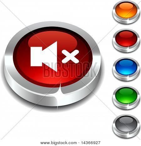 Mute 3d button set. Vector illustration.
