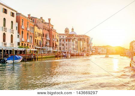 Venice cityscape view on the Grand canal at the sunrise