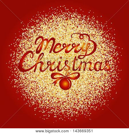 Merry Christmas hand lettering on red background with gold glitter. Vector greeting card.