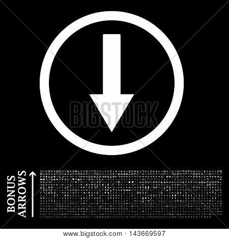 Down Rounded Arrow icon with 1200 bonus arrow and navigation pictograms. Vector illustration style is flat iconic symbols, white color, black background.