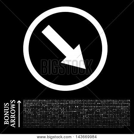 Down-Right Rounded Arrow icon with 1200 bonus arrow and direction pictograms. Vector illustration style is flat iconic symbols, white color, black background.