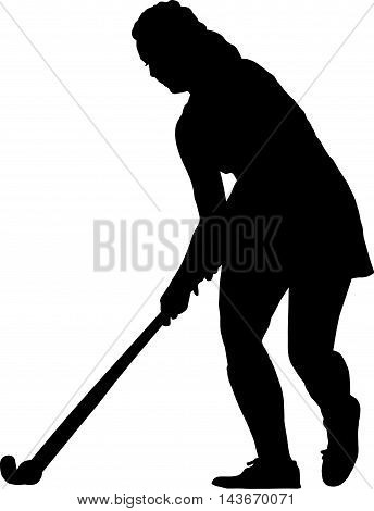 Silhouette Of Standing Girl Ladies Hockey Player Prepare To Hit  Ball