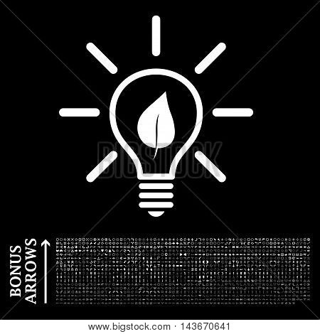 Eco Light Bulb icon with 1200 bonus arrow and navigation pictograms. Vector illustration style is flat iconic symbols, white color, black background.