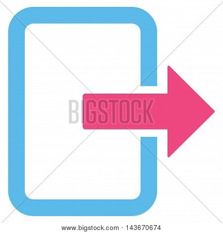 Exit Door icon. Vector style is bicolor flat iconic symbol with rounded angles, pink and blue colors, white background.