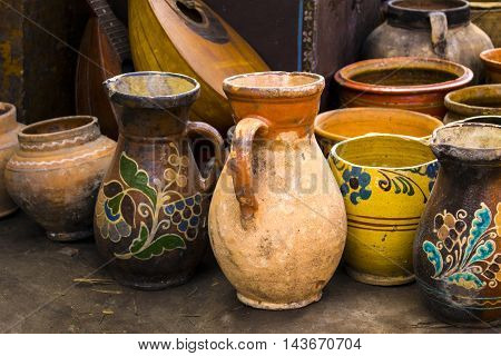 old crockery jugs for milk   culture traditional