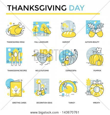 Thanksgiving Day icons, thin line, flat design
