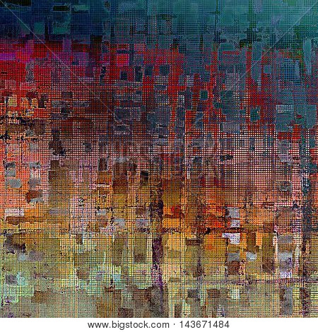 Vintage torn texture or stylish grunge background with ancient design elements and different color patterns: yellow (beige); brown; blue; red (orange); purple (violet); pink