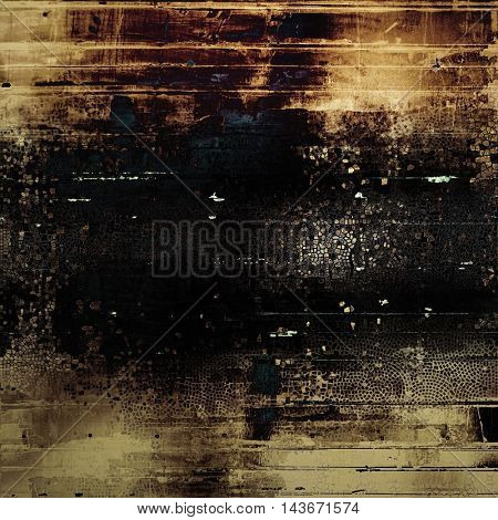 Vintage style background with ancient grunge elements. Aged texture with different color patterns: yellow (beige); brown; black; blue; gray