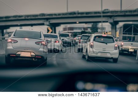 Traffic Jam On Express Way In Rush Hour