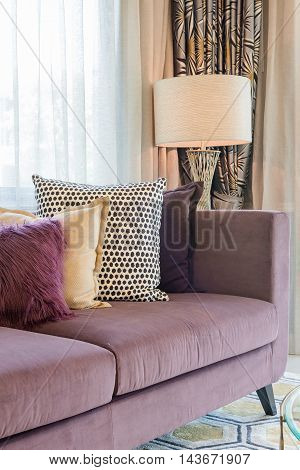 Luxury Living Room Design With Purple Sofa
