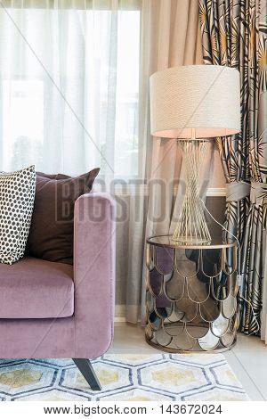 Luxury Living Room Design With Purple Sofa